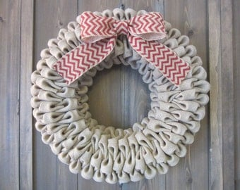 Burlap wreath - burlap bubble wreath with white, red, or black chevron bow