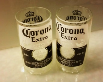 Corona Extra Beer Bottle Drinking Glass Set of 2