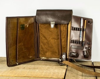 Vintage Leather Shoulder Bag - Brown - Soviet Officer Military Bag - Made in USSR
