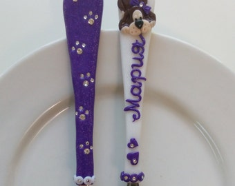 Paws, Childrens Personalized Cutlery Set, Colored Fork and Spoon with Name, Kids Cutlery Set, Personalized Kids Gift, Handwritten Cutlery