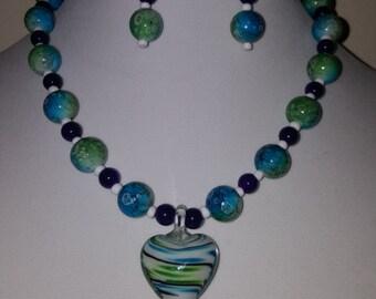 White Glass Heart Pendant - Purple Swirl - Green Swirl - Blue Swirl - Swirl Necklace - Swirl Glass Necklace - Heart Necklace - Heart Jewelry