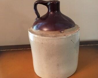 Vintage Western Stoneware Crock White/Brown 1 Gallon Jug