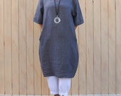 Ladies Lagenlook Quirky Quality Linen Tunic  Dress Long Top UK 14 16 18 20 22 24 26 - CHARCOAL W47