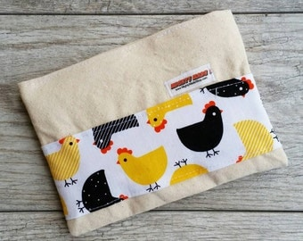 Chicken Print -- Snack / Sandwich / Quart / Gallon Size Reusable Bag -- Natural Canvas -- Made to Order