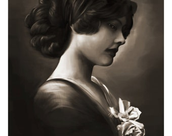 A4 Giclée print of the original digital portrait painting entitled 'White Roses' by Thomas Harrison
