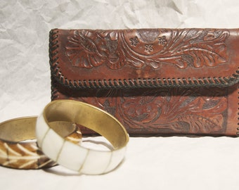 Vintage Hand Tooled Leather Wallet Billfold Checkbook Scrolled Floral Pattern Mohogany color Gift for Her