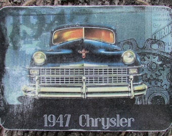 1947 Chrysler Vintage Car Photo Transfer