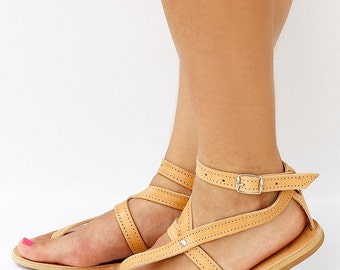 Women Natural Brown Leather Sandals with Star Shape Straps, Women Greek Sandals