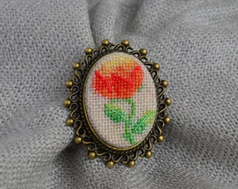 Peony brooch Cross stitch brooch Embroidered jewelry Oval brooch Handmade brooch Red flower Peony jewelry Gift for her Red brooch
