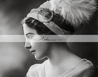 Digital Download Printable - Art Deco Flapper Woman with Feather - Paper Crafts Scrapbooking Altered Art - Vintage Antique Photography