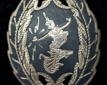 Vintage Siam Brooch - Silver Brooch - Black Brooch - Niello Jewellery Brooch - Traditional Siam Thailand Sterling Silver Niello Inlay Brooch