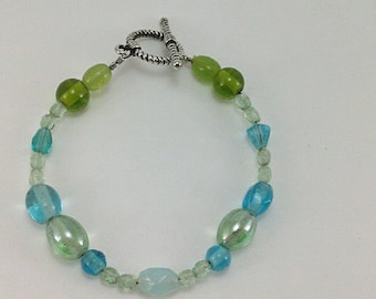 Green Lime Green Yellow Green Pale Green Blue Green Turquoise Blue Pale Blue Faceted Iridescent Beaded Glass Handmade One-of-a-Kind Bracelet