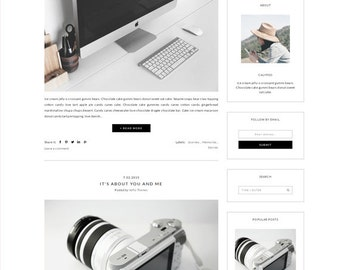 Responsive Premade Blogger Template - Minimalist Design - Simple white Blog - Photography - Theme Blogspot