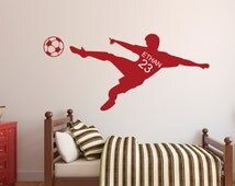 Soccer Wall Decal - Personalized Name Wall Decal & Number - Children's Room - Kids Infant
