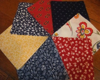 "3 1/2"" by 3 1/2"" Cotton Fabric Squares, Vibrant Red, Yellow, and Blue Fabrics for Quilting"