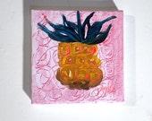Mini Acrylic Painting, Pineapple Abstract Artwork, Hawaiian Small Art, Yellow Teal Fruit Artwork, Kitchen Art, Art & Collectibles