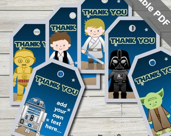 Star Wars Party Favor Tags. Printable PDF (EDITABLE). Instant Download.