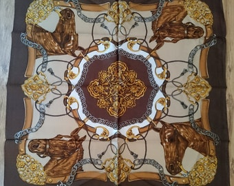 Vintage Italian Large Square Scarf - Brown Gold and White Equestrian Design in Satin - Unused and Perfect From 1970s Stock