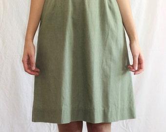 Vintage Handmade Green 60s Dress Peter Pan Collar