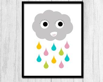 Happy Cloud Print Digital Download Cloud Art Printable Art Instant Download Rain Cloud Print Rain Cloud Art Rain Drop Art Printable Art