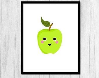 Apple Print Nursery Decor Digital Download Nursery Art Apple Printable Green Apple Instant Download Fruit Printable Digital Print Kids Decor