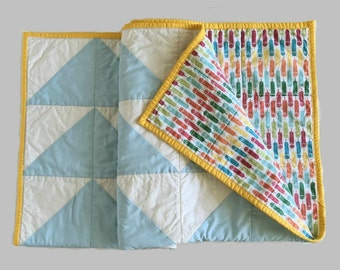 Blue Baby Quilt, Handmade Baby Shower Gift, Modern Geometric Stroller Blanket, Yellow Multicolor, Boho Crib Quilt Nursery Decor 34x34 Q2