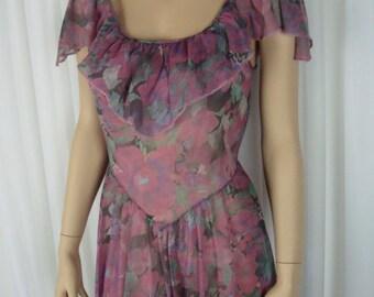 Henson Kickernick- Purple Floral Night Gown - Hankie Drop Hemline - Sheer Soft Nylon - S/M