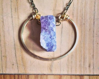 READY TO SHIP - Amethyst Druzy Crescent Necklace