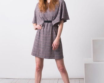 Kimono Style Fall Dress for Women in Organic Cotton, A-line dress with Flutter Sleeves, Morphology Dress