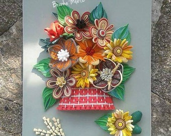 Amazing Quilled Picture Flowers In Basket   Paper Flower Art   Quilling Flowers Wall  Decor   3D Part 27