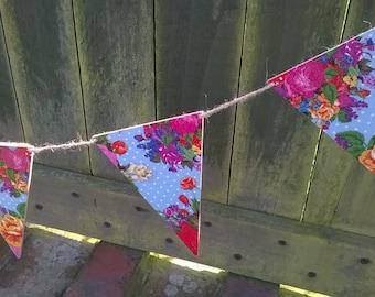 Sale - Floral Flag Bunting, Wooden Flag Garland, Decoupage, Vintage Style, Flowers & Polka Dot