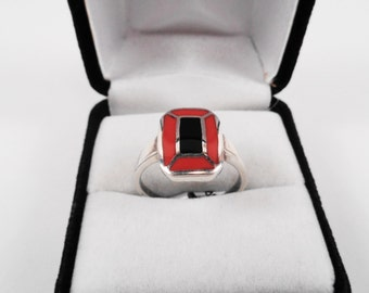 Coral & Onyx Silver Ring