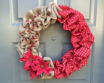 christmas wreath, burlap christmas wreath, poinsettia wreath, holiday wreath, winter wreath, red christmas wreath, holly wreath, wreath