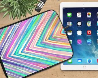 Chevron Ipad Sleeve, Watercolor Chevron Neoprene Tablet Sleeve, Boho Chevron Ipad Sleeve, Ipad 2/3/4, Ipad Air Sleeve, Tablet Travel Case