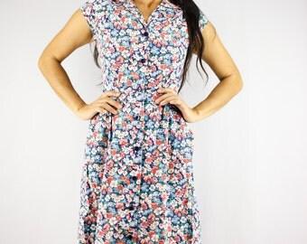 XS Japanese Cotton Shirtwaist Dress, 70s Summer Button Up Dress, Collared Floral Shirt Dress, Cap Sleeve Secretary Dress with Pocktes, XS