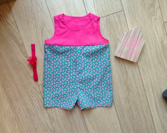 Pink romper baby size 4-6 months, pink playsuit baby size 4-6 months, pink newborn onesie, pink newborn romper