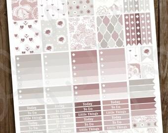 Wedding Planner Stickers | PRINTABLE Instant Download | Blushing Bride Planner Stickers | DIY Wedding Sticker | Rose and Gray | Erin Condren