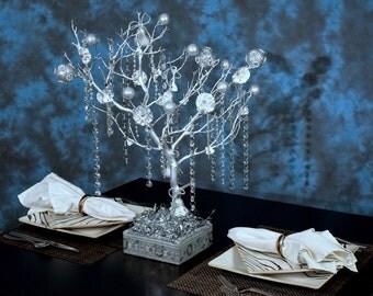 White Wedding Manzanita Tree Centerpieces/White Christmas