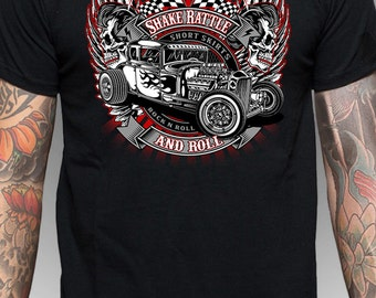 Shake Rattle and Roll, Rat Rod, Elvis, Black T Shirt/not a transfer