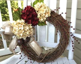 Christmas Wreath, Rustic Wreath, Front Door Wreath, Holiday decor, Hydrangea, Winter Wreath, Monogram