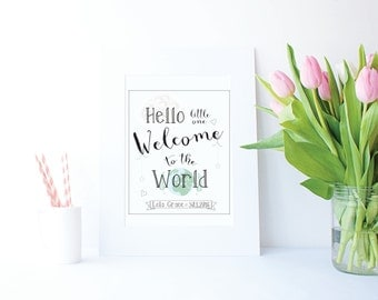8x10 'Hello Little one' Personalised print