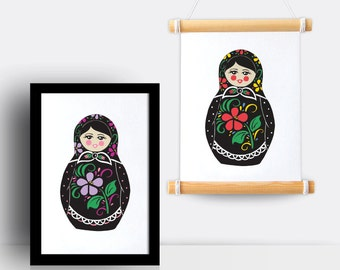 Russian Doll illustrated A5 print