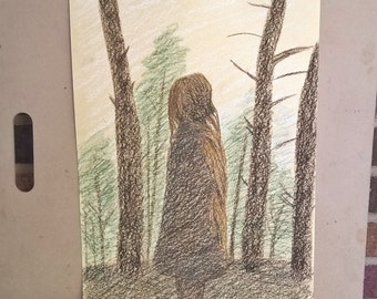 Girl in the Woods Oil Pastel on Paper