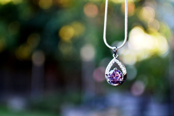Sofia Amulet Necklace, Flowergirl Purple Drop Rhinestone Necklace, Sofia the First Birthday Party Favors, Sophia's Amulet, Violet Bridesmaid