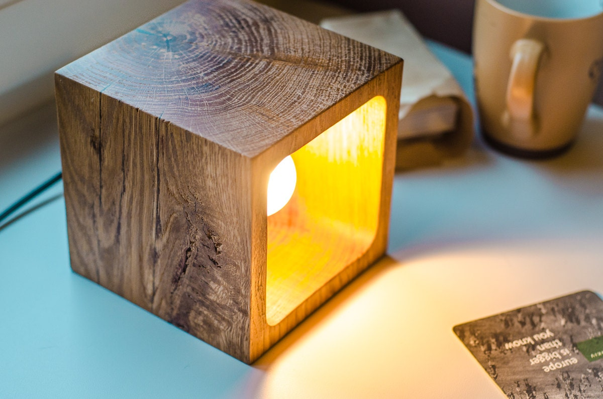 Wooden Lamp Q56 Handmade Light Oak Desk Lamp Wood Lamp