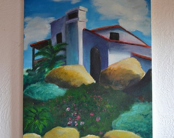 "Vintage Oil on Canvas Original Painting, House with Rocks & Landscape, Unsigned 14"" x 18"""