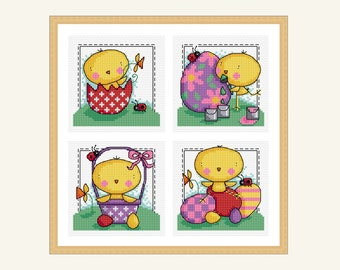 easter chick - 4 cross stitch designs