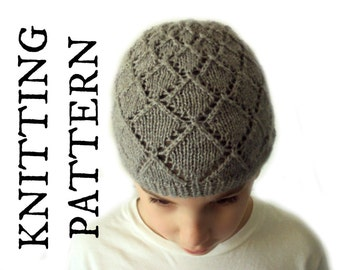 Diamonds Beanie Knitting PATTERN - Children and Adult sizes - ENGLISH - DIY lace hat pattern - Hat knitting pattern - Instant download