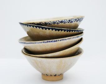 Blue + White Bowls (Leaf Pattern)