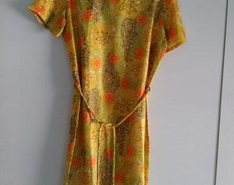 Citrus coloured 70's summer shift dress